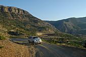 A jeep on a mountain pass between Kozluca and Tashan, Highlands of Zamanti, Taurus Mountains, Turkey, Europe