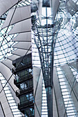 Roof structure of the Sony Center, Potsdamer Platz, Berlin, Germany