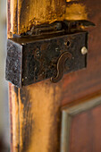 Close up of an old door lock, Dolomites, South Tyrol, Italy