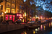 Amsterdam, Gracht at twilight, red light district