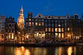 Amsterdam, Kloveniersburgwall, Zuiderkerk, Daemmerung