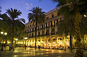 Spain,Barcelona,Plaza Real at twilight