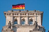 Berlin, Reichstag buidling german national flagg