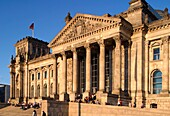 Berlin, Reichstag building with dome by Norman Forster, outdoors