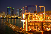 Dubai Creek Promenade Skyline Twin towers Rolex headquarter Restaurant boat