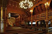 interior, Gustav-Adolf-Stabkirche, Hahnenklee, Harz Mountains, Lower Saxony, northern Germany