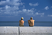 Adult, Adults, Back view, Bathing suit, Bathing suits, Caucasian, Caucasians, Cloud, Clouds, Color, Colour, Contemporary, Couple, Couples, Exterior, Female, Holiday, Holidays, Horizontal, Human, Leisure, Male, Man, Mature Adult, Mature Adults, Mature peo