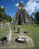 Temple of the Giant Jaguar (Temple I). Mayan ruins of Tikal. Guatemala
