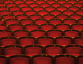 Background, Backgrounds, Chair, Chairs, Color, Colour, Empty, Horizontal, Indoor, Indoors, Interior, Line, Lines, Nobody, Red, Row, Rows, Seat, Seats, Silence, Theater, Theaters, Theatre, Theatres, CatV5, 10533, agefotostock