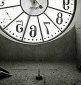 Abstract, Aged, B&W, Black-and-White, Clock, Clocks, Concept, Concepts, Detail, Details, Empty, Indoor, Indoors, Interior, Monochromatic, Monochrome, Number, Numbers, Old, Square, Time, CatMindwaves, 14526, agefotostock