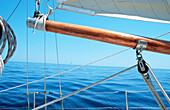 Aussen, Boot, Boote, Detail, Details, Draussen, Farbe, Ferien, Freizeit, Geräuschlosigkeit, Horizont, Horizontal, Horizonte, Konzept, Konzepte, Meer, Nahaufnahme, Nahaufnahmen, Ruhe, Ruhig, Schiffahrt, Schifffahrt, Segelschiff, Segelschiffe, Seil, Seile,