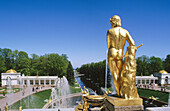 Grand Cascade: canals and water works. Peterhof Park. St. Petersburg. Russia