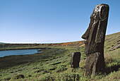 Moai quarry. rano raraku. Easter Island. Chile.