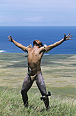 Haka pe i banana tree sliding, Maunga pu i volcano. Tapati Rapa Nui festival. Islander. Easter Island. Chile.