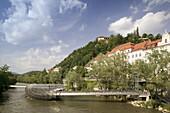 Island in the Mur, Mur Insel, Bridge built 2003. Mur River & Schlossberg. Daytime. Graz. Styria (Stiermark). Austria. 2004.