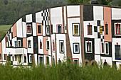 Rogner-Bad Blumau Hotel (b.1997) designed by Friedensreich Hundertwasser. Window Detail. Bad Blumau. Styria (Stiermark). Austria. 2004.