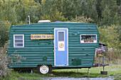 Grounds for Hope Trailer. Coffee shop. Hope. Kenai Peninsula. Alaska. USA.