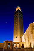 Morocco-Casablanca: Hassan II Mosque (b.1993)-Exterior / Evening. Holds 25,000 Worshipers and the minaret is 210m tall-The Tallest Minaret in the world!