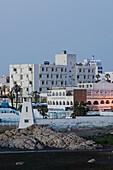 Morocco. Atlantic Coast. Casablanca (Ain Diab): Along Ain Diab beach. Resort Hotels. Evening