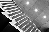 Architecture, B&W, Banister, Banisters, Black-and-White, Ceiling, Ceilings, Concept, Concepts, Construction, Detail, Details, Handrail, Handrails, Horizontal, Indoor, Indoors, Interior, Lights, Low angle view, Monochromatic, Monochrome, Rail, Railing, Ra