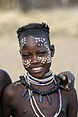 Girl. Karo ethnic group, lower Omo river basin, Gamo Gofa region, south west Ethiopia.