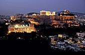 Odeion of Herodes Atticus (left) and Parthenon (top). Acropolis, Athens. Greece