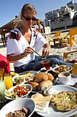 Beach breakfast, Tel Aviv, Israel