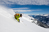 Skier freeriding, Disentis, Grisons, Switzerland