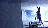 Blue, Ceiling, Ceilings, Color, Colour, Contemporary, Horizontal, Hotel, Hotels, Human, Indoor, Indoors, Inside, Interior, Ladder, Ladders, Occupation, Occupations, One, One person, People, Person, Persons, Profession, Professions, Shadow, Shadows, Singl