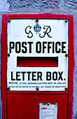 Antique letter box at post office. Luss. Highlands. Scotland
