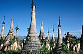 Ruined stupas of Shwe Inn Thein. Indein. Inle Lake. Shan State. Myanmar.
