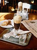 Café Sperl. Viennese black coffee with pan. Vienna. Austria.