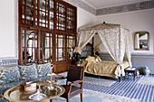 Room. Riad Maison Bleue. Fes. Morocco.