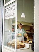 Arezzo bread at Forno Pane e Salute. Tuscany. Italy.