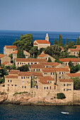 Sveti Stefan (Saint Stefan) Hotel. Budva Island. Republic of Montenegro. Adriatic sea coast, Balkan States.