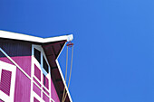 Architecture, Barn, Blue sky, Building, Buildings, Color, Colour, Concept, Concepts, Daytime, Detail, Details, Eaves, Exterior, Farm, Horizontal, House, Houses, Outdoor, Outdoors, Outside, Pulley, Pulleys, Skies, Sky, E16-200500, agefotostock