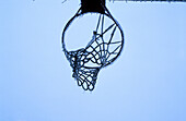 Basketball, Cold, Color, Colour, Concept, Concepts, Frozen, Hoop, Hoops, Horizontal, Ice, Icicle, Icicles, Low angle view, Net, Nets, One, Sport, Sports, View from below, Winter, Wintertime, E43-224952, agefotostock