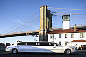 Stretch Limo at Fulton Landing, Brooklyn, NYC. USA