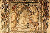 Roman mosaic depicting Artemis, goddess of chastity and the hunt, surrounded by her nymphs when she is surprised by a hunter while bathing, Sweida. Syria