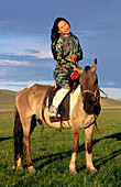 Woman and horse. Khenti. Mongolia