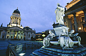 Schiller Statue and French Cathedral at Gendarmenmarkt square. Berlin. Germany