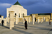 Mohammed V Mausoleum with the ruins of the mosque of Abu Yusuf Ya qub al Mansur -never completed-. Rabat. Morocco