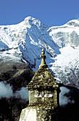 Buddhist stupa. Tamserku range mountain. Khumbu region. Everest. Nepal