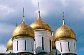 Detail of domes, Assumption Cathedral. Kremlin. Moscow. Russia