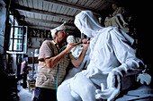 Marble sculpture workshop at Pietrasanta village. Lucca province, Tuscany. Italy
