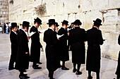 Men at Wailing Wall. Jerusalem. Israel