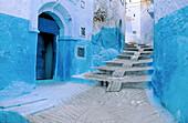 Street in Chechaouene. Rif region, Morocco