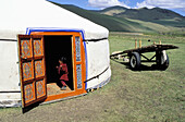 Yurt at nomads camp. Orkhon Valley. Ovorkhangai. Mongolia
