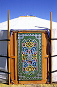 Door of yurt at nomads camp. Orkhon Valley. Ovorkhangai. Mongolia