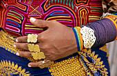 Hands of a Kuna Indian woman. San Blas archipielago. Panama